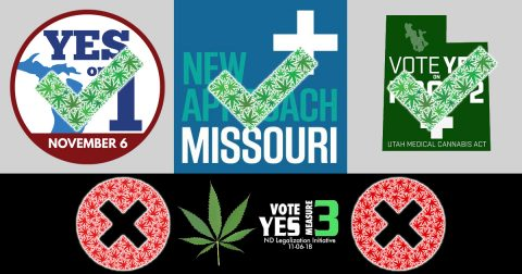 Marijuana Legalization Initiatives Pass in Michigan, Missouri and Utah; Fails in North Dakota